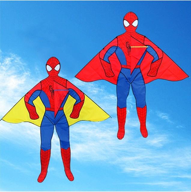 Envío de la alta calidad 2 m cometas con la línea de mango al aire libre juguetes de dibujos animados de spiderman kite kite niño volando rueda de pulpo weifang