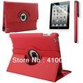 Для Случая Apple iPad 2 iPad 3 iPad 4 ИСКУССТВЕННАЯ Кожа смарт Стенд Флип Дело Чехол 360 Вращающийся + пленка экрана + стилус бесплатно