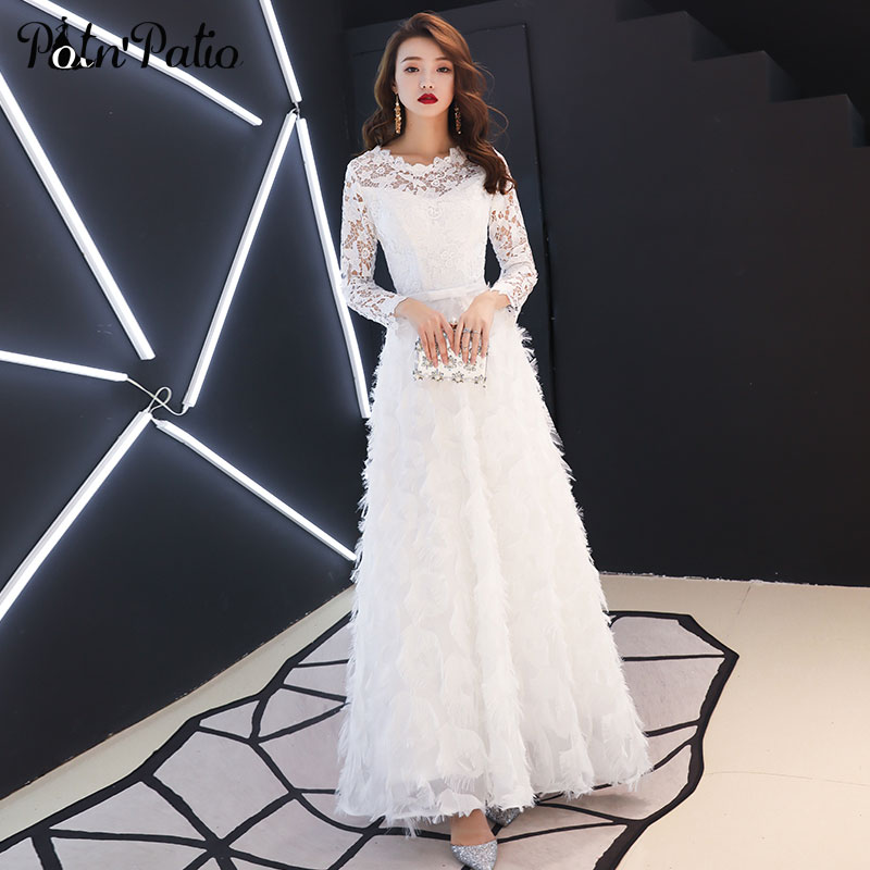 White Feather Evening Dresses Long 2019 O neck A line Floor Length Lace Long Sleeve Evening