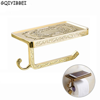 GQIYIBBEI Antique Carving Zinc Alloy Toilet Towel Rack With Phone Shelf Wall Mounted Bathroom Paper Holder