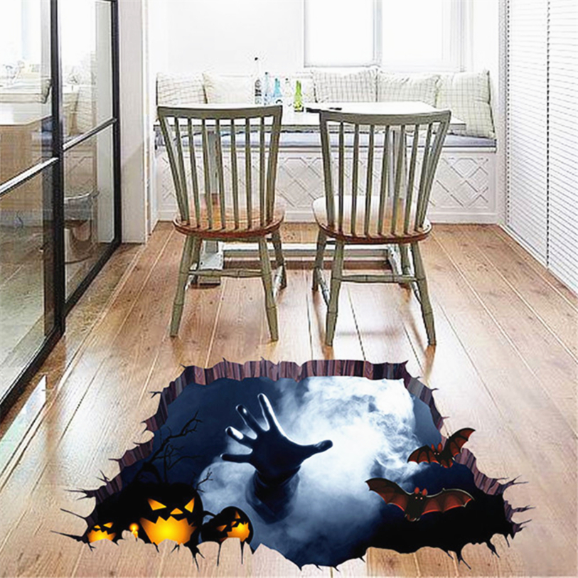 Scary Bat Theme Decoration Floor Stickers Removable Art Diy Wall Decal Mural Home Decor Whole 30jy27 In From