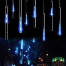 Tubo de lluvia de meteorito de 30CM, 50CM, 110V 230V, Guirlande Led para exteriores, guirnalda de árbol de Navidad feérico, luces de adorno, decoración de boda