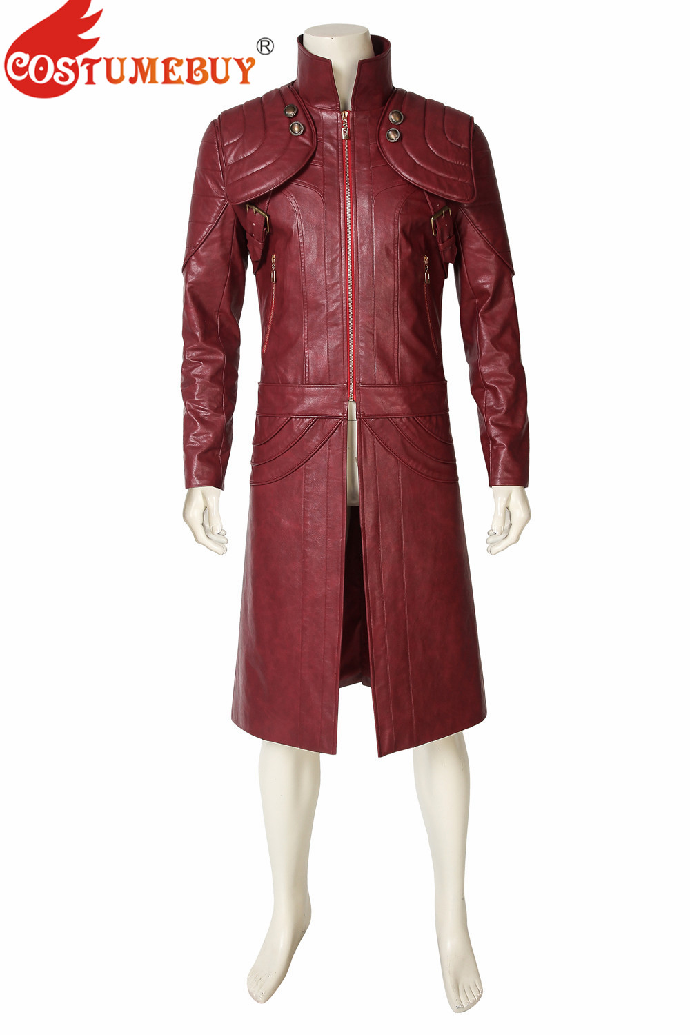 CostumeBuy Game Devil May Cry 5 Cosplay DMC5 Dante Costume PU Leather Jacket Trench Mysterious Man Fancy Coat Halloween Outfit