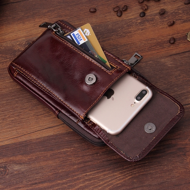 competitive price d71e0 22dbf US $29.9 |Solque Genuine Leather Vertical Belt Holster Case For iPhone X 8  7 Plus 6 6S Plus Cell Phone Luxury Zipper Wallet Bag Cover Case-in Holsters  ...