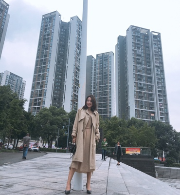 Spring And Autumn Women Fashion Brand Korea Style Waist Belt Loose Khaki Color Trench Female Casual Elegant Soft Long Coat Cloth 74