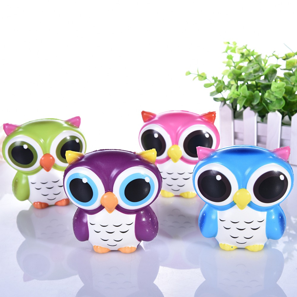 Anti-stress Cute owl Squishy Slow Rising Colorful Jumbo Fun Squish Toys Stress Relief  Squeeze  Novelty Gag Toys