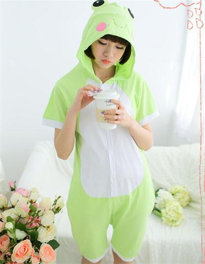 1f4283432b Adult Frog Onesie Pajamas 100% Cotton Short Sleeve Sleepwear Anime Cartoon Animal  Summer Onesies Unisex Frog Pyjamas -in Anime Costumes from Novelty ...