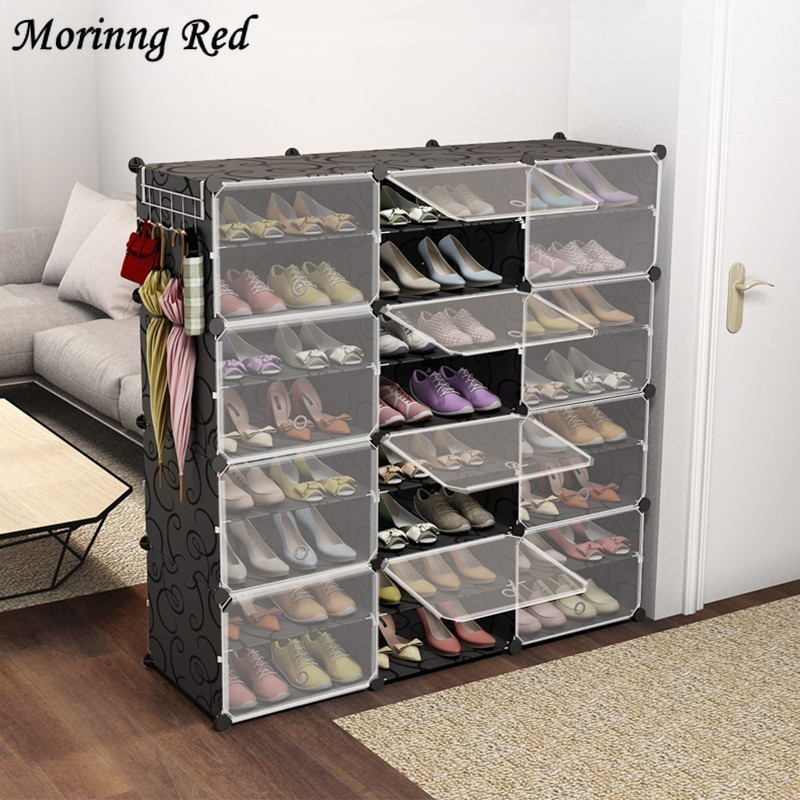 Free Combination Shoebox Steel Frame Plastic Cabinet Sneakers Boots Storage Organizer Convertible Space Size for Extended Family