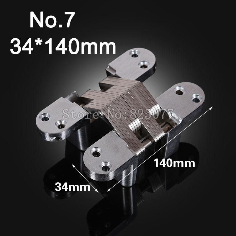 1PCS Hidden Hinges Size 34x140mm Bearing 60KG Invisible Concealed Cross Door Hinge Stainless Steel Hinge For Folding Door KF1064 1pcs hidden hinges size 28x118mm bearing 50kg invisible concealed cross door hinge stainless steel hinge for folding door kf1063