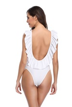 Female Fashion Ruffle Sexy Backless One Piece Swimsuit White Black Solid Models 2019 New Flying Side Frill Swimwear Women white one shoulder frill trim asymmetrical swimsuit