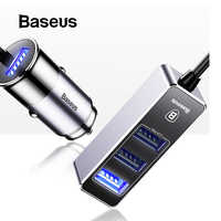 Baseus Car USB Charger 4 Ports Output Car Charger Mobile Phone Charger For iPhone X 8 7 6 Samsung Xiaomi Multiple Expand Charger