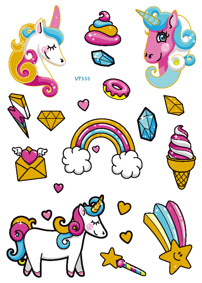 2019 Latest New Metal Unicorn Tattoos For Cartoon Design Temporary Waterproof Flash tattoos for Childen body art in Temporary Tattoos from Beauty Health