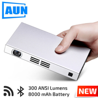AUN DLP WIFI Projector D6S 1280 720 Resolution Android 5 1 MINI Beamer Bluetooth 8 000mAH