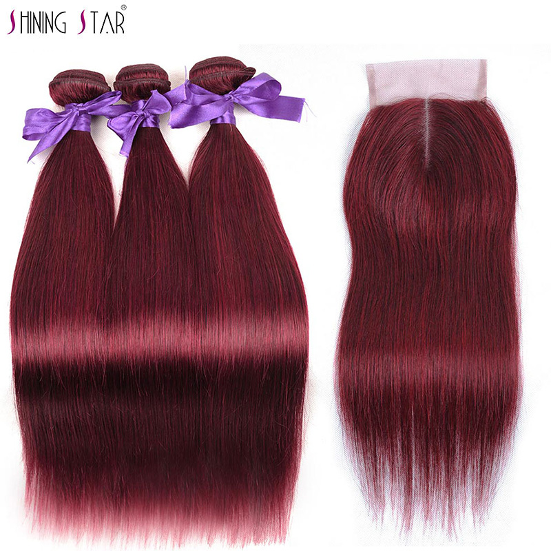 Shining Star Colored 99J Brazilian Burgundy Bundles With Closure Straight Red Human Hair 3 Bundles With