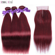 Shining Star Colored 99J Brazilian Burgundy Bundles With Closure Straight Red Human Hair 3 Bundles With Closure Non Remy Weaves amazing star t1b 99j 18 дюймов