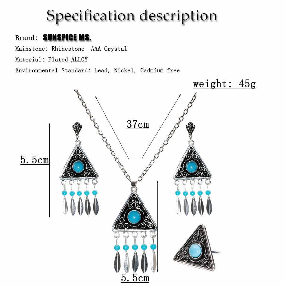 Набор украшений из 3 предметов в этническом стиле, серьги в виде треугольника, ожерелье, кольца с черной краской, индийские свадебные украшения, цыганский узор 2019