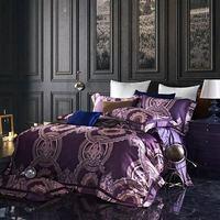 Фиолетовый роскошный комплект постельных принадлежностей королева размер египетского хлопка пододеяльник постельное белье жаккард лист