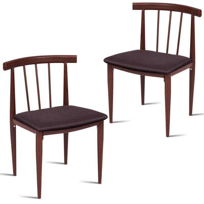 Conjunto de 2 sillas de comedor tapizadas de tela elegante ...