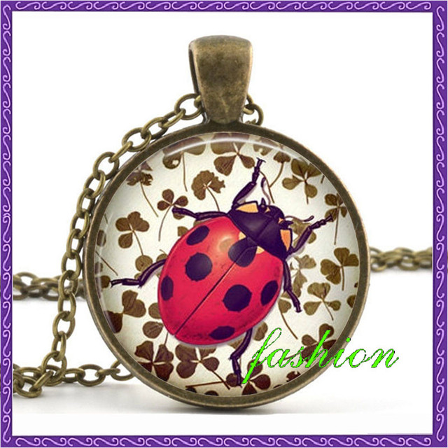 Ladybug clover luck pendant lady bug necklace good luck jewelry ladybug clover luck pendant lady bug necklace good luck jewelry beetle red necklace feng shui necklace mozeypictures Gallery