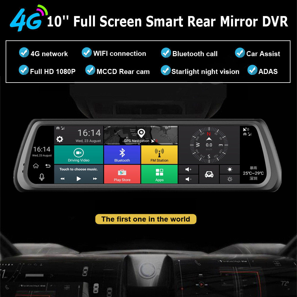 10 quot Full Touch IPS 4G Car DVR Camera Android Mirror Dual Lens Video Recorder Dash Cam GPS Bluetooth WIFI ADAS Car Assist in DVR Dash Camera from Automobiles amp Motorcycles