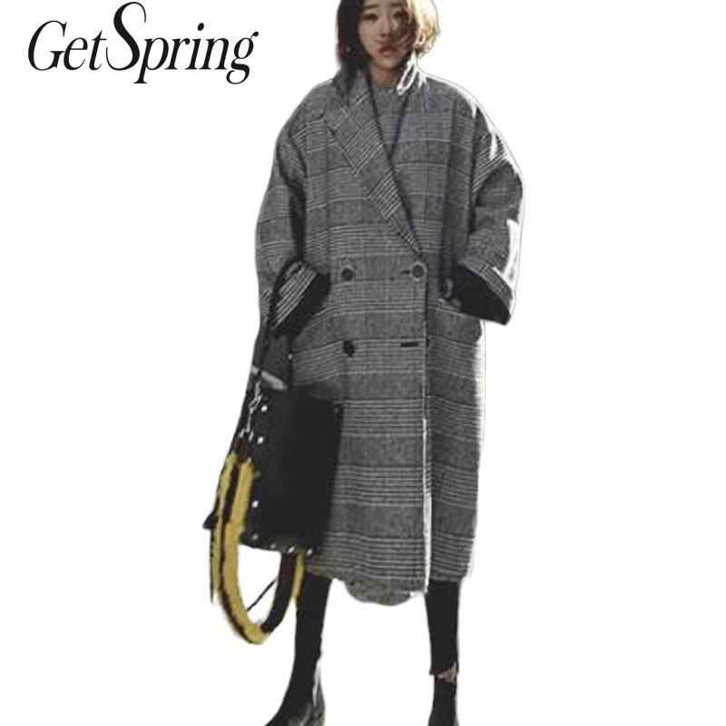 GetSpring Women Wool Coat Plaid Women Jacket Loose Long  Double Breasted Woolen Coat Winter Coat Woolen Overcoat 2019 Overcoats