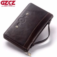 GZCZ New Male Clutch Vintage Genuine Leather Men's Wallet High Quality Zipper Purse Clamp For Money Cell Phone Pocket Money Bag
