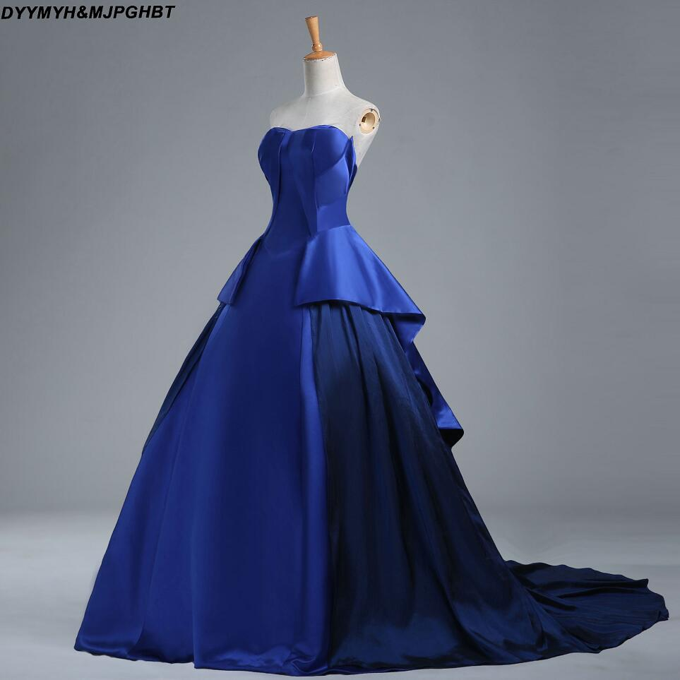 Real Image Corest Back plooi Bottom baljurken Royal Blue Prom - Jurken voor bijzondere gelegenheden - Foto 3