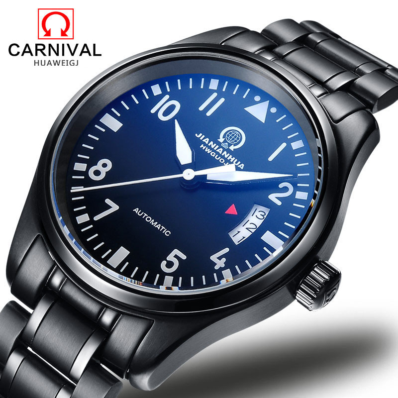 Luxury Carnival Luminous Waterproof watch men black stainless steel Sapphire Automatic machine wristwatch relogio masculino карта памяти 100% toshiba sd sdhc 10 uhs i 30mb s 32 16 8