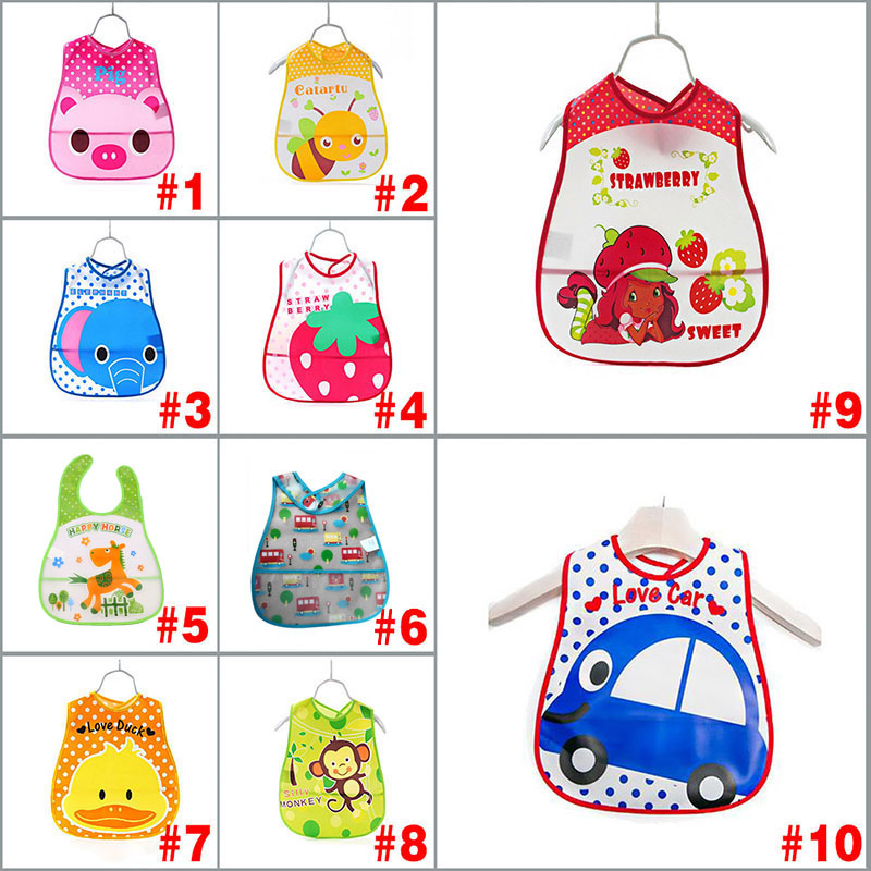 Baby Kids Cute Cartoon EVA Waterproof Silicone Children Bibs Boys Girls Infants Burp Clothes Feeding Care FJ88