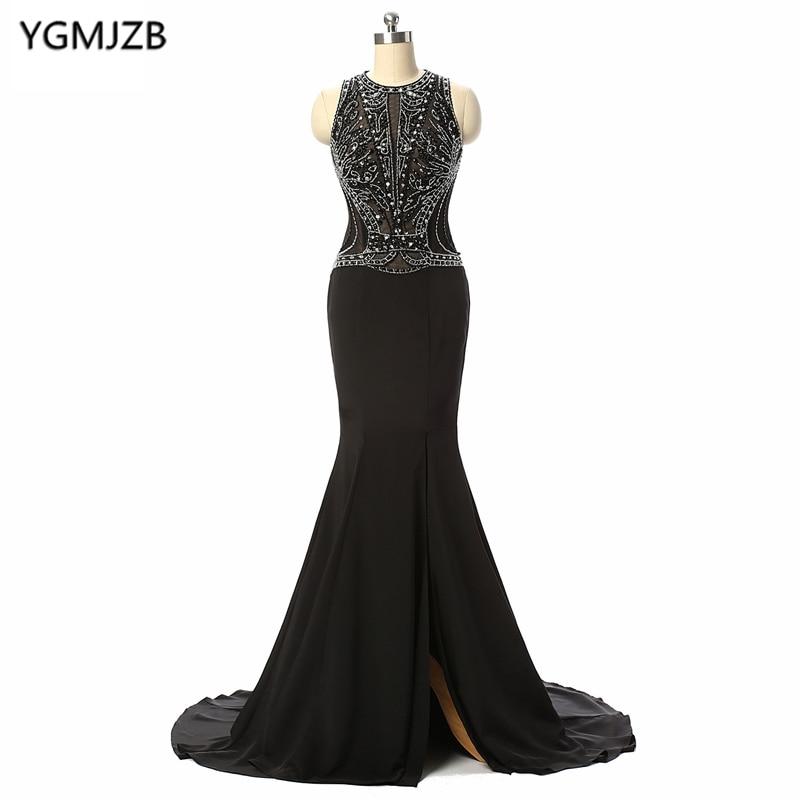 Elegant Black Long   Evening     Dresses   2018 Mermaid O Neck Sequined Beaded Prom   Dress   Sexy Side Split   Evening   Gown Vestido De Festa