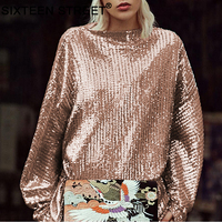 New woman's clothing sequin gold bling shirt long sleeve o neck loose tops for ladies autumn sequin embroidery T shirt