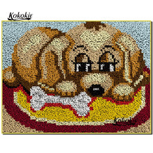 3d latch hook rug dog canvas printing vloerklee diy tapijt foamiran for needleworksets knooppakket crochet tapis floor mat decor(China)