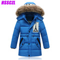 2016 new boys down jacket for boy coats winter thicken children's jackets outerwear detachable cap warm collar overcoat  110-140