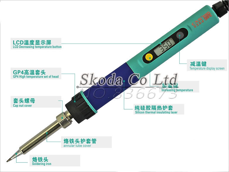 wholesale EU Plug CXG 936d temperature Adjustable electric soldering iron 220V 60W Internal heating 900M tip
