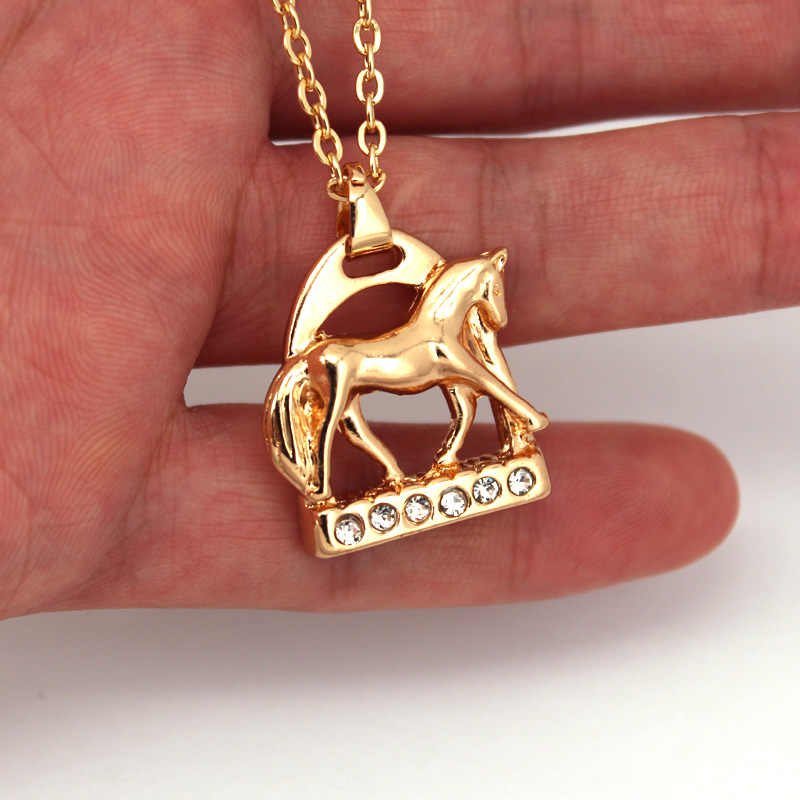 hzew crystal Horse Stirrup and horse Pendant Necklace two colors gold and silver horse necklaces jewelry gift