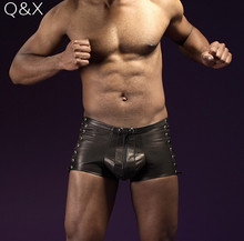 XX70 2017 Men Sexy Panties Black Faux Leather Boxer Shorts Stage Plus Size Novelty Lace Up Zipper Briefs Bandage Shorts M-3XL