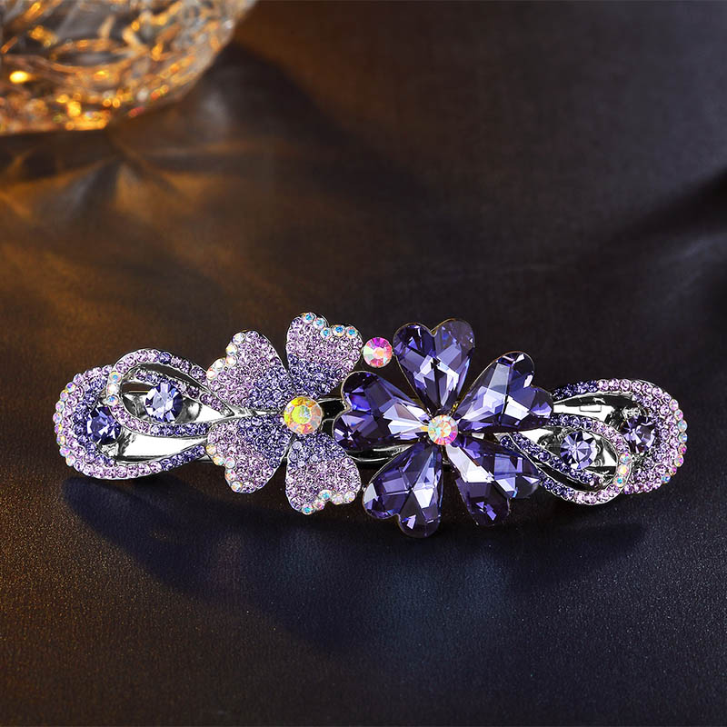 Flower Hairpin Hair Clips for Women Luxury Full Imitation Crystal Hair Pin Barrette Hairpin Hairclips Ponytail Clip 3160036 10pcs mix color barrette baby hair clip cute flower solid cartoon handmade resin children hairpin girl hair clip accessories