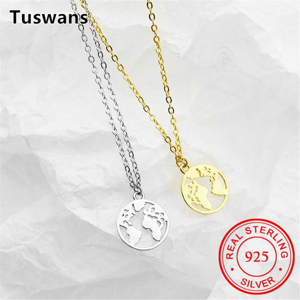 d38749719e S925 Sterling Silver World Map Necklace Earth Silver collier carte du monde  Jewelry for Wanderlust Personalized