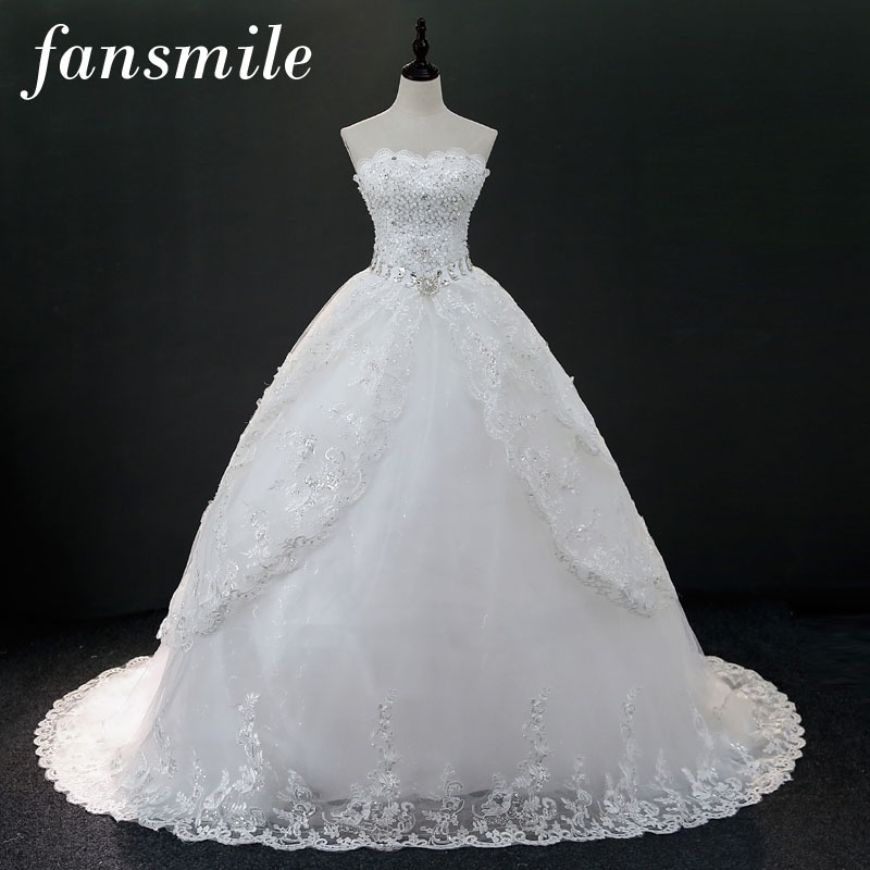 Fansmile Luxury Crystal Vintage Lace Long Train Wedding Dress 2018 Vestido de Noiva Plus Size Bridal Dress FSM-176