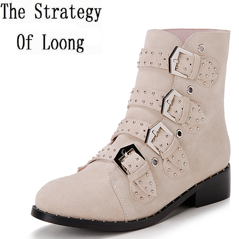 Women Winter Short Plush Thick Warm Full Grain Leather Rivets Snow Boots Leather With Fur Real