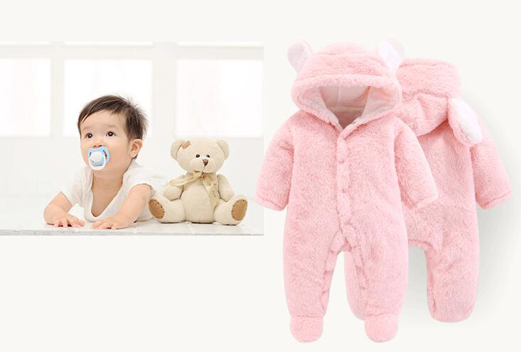 2020 Newborn Baby Winter Hoodie Clothes Polyester Infant Baby Girls Pink Climbing New Spring Outwear Rompers 3m-12m Boy Jumpsuit | Happy Baby Mama