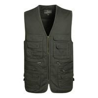 New Spring Autumn Men Size XL 4XL V neck Casual Vests Male Big Size Multi Pockets Waistcoats Outdoors Photography Vest