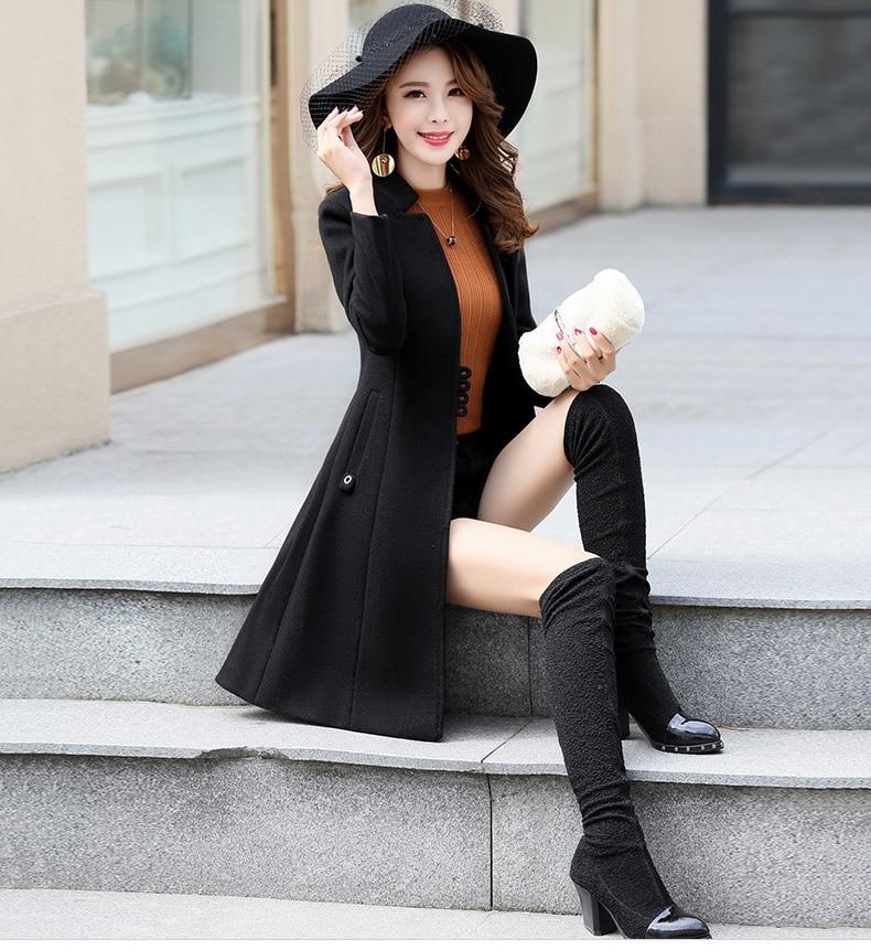 Outerwear Overcoat Autumn Jacket Casual Women New Fashion Long Woolen Coat Single Breasted Slim Type Female Winter Wool Coats 23