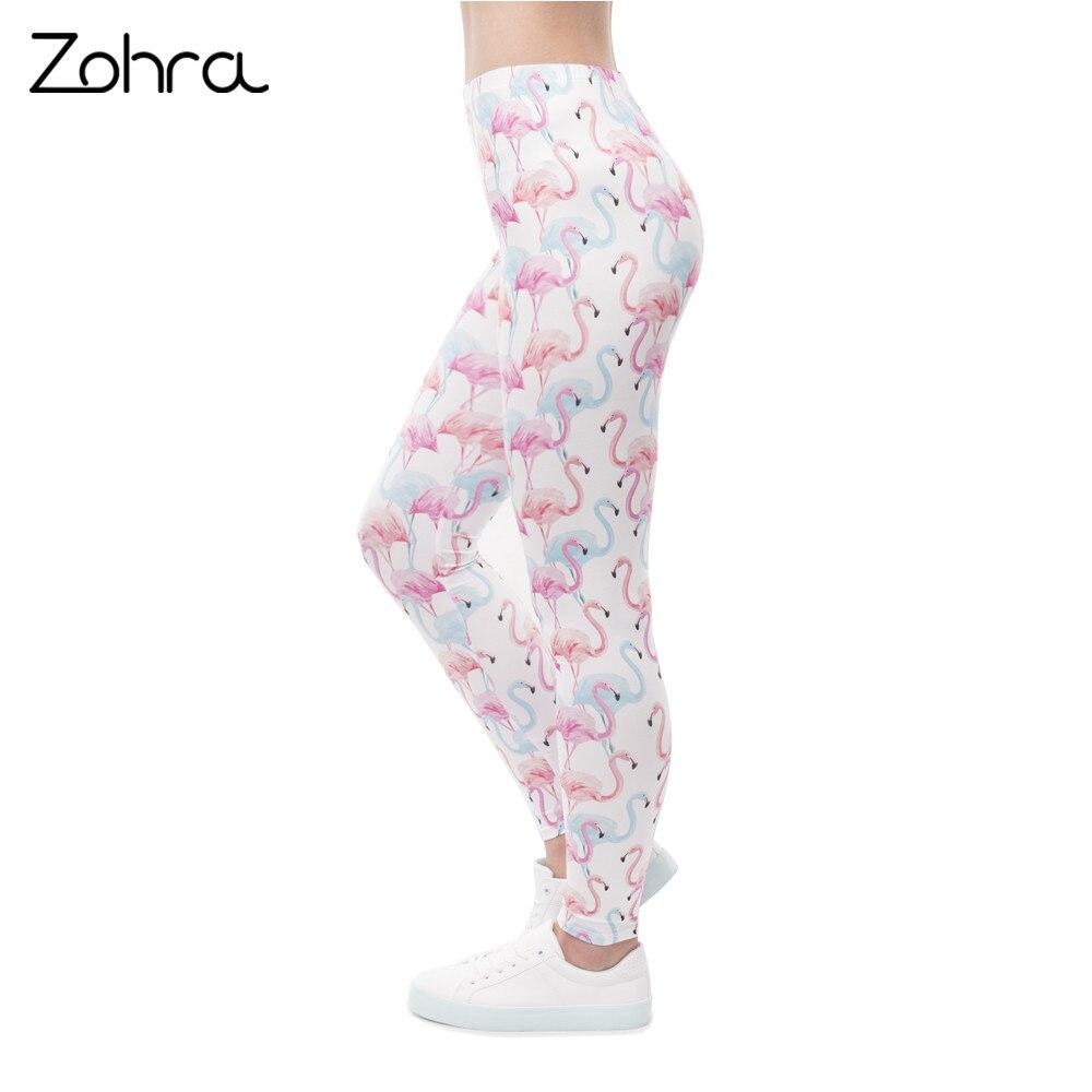 Zohra High Quality Women High Waist   Legging   Flamingo Magico Colors Printing Fashion   Leggings   Fitness Woman Pants