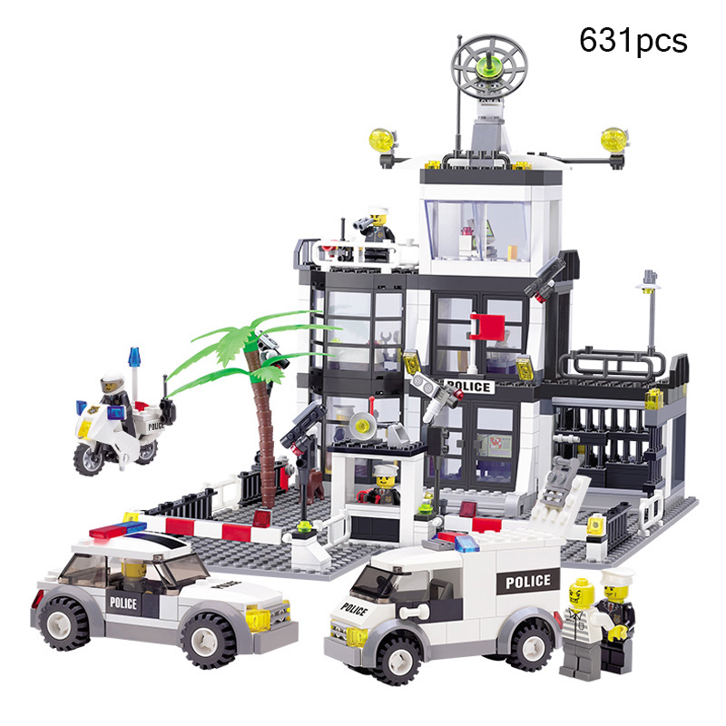 City Police Station Motorbike Police Truck Model Building Blocks Figures Compatible Legoe City Bricks Toys For Child Gift Friend 407pcs sets city police station building blocks bricks educational boys diy toys birthday brinquedos christmas gift toy
