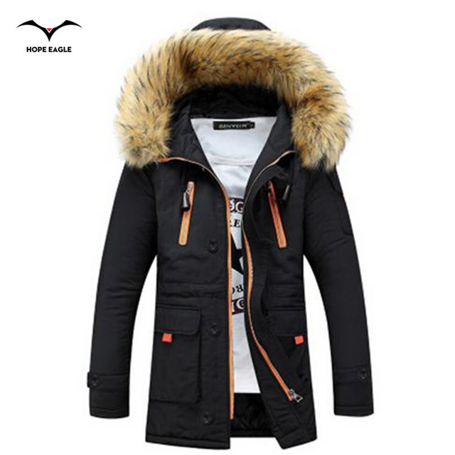 The new autumn and winter 2016 men's Korean Slim padded hooded thick cotton jacket and long sections Couple