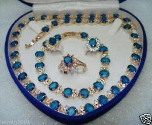 Yellow Gold GP Blue Stone Sapphire Set Necklace Bracelet Earrings Ring+