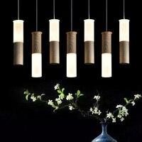 Madera llevó luces colgantes palillo creativo restaurante sala de estar decoración tienda de ropa del partido de la personalidad colgante lámparas ZA FG395