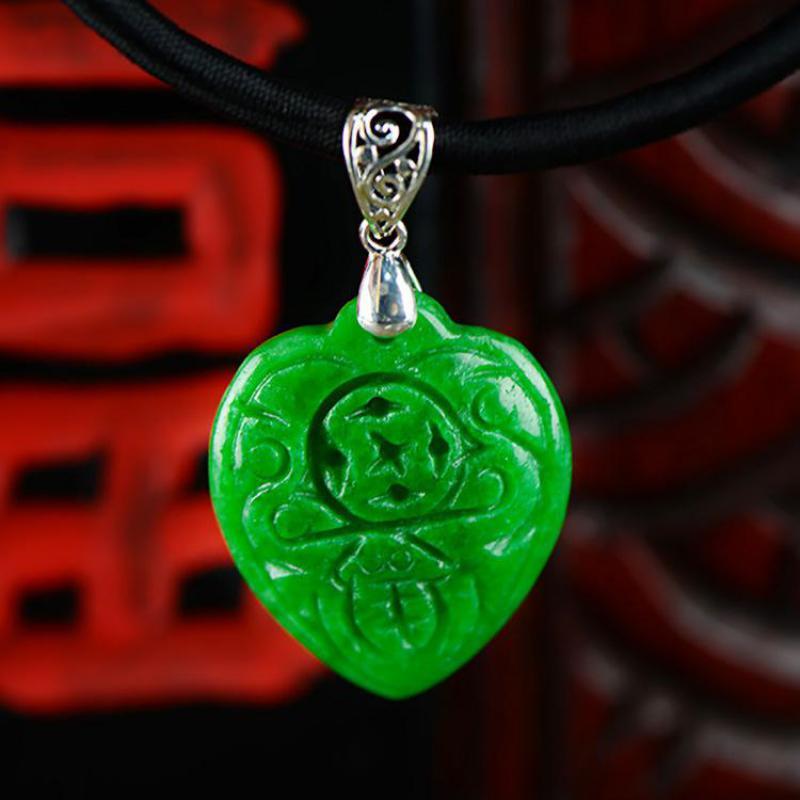 925 Sterling Silver Verde Naturale Giada Pendenti con gemme e perle a Forma di Cuore Cinese Moneta Inciso Amuleto Tailandese Ciondolo In Argento Rotolamento Soldi