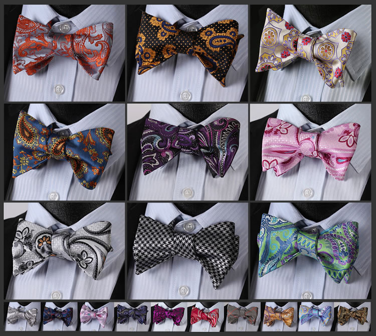 Floral Paisley Bow Tie Houndstooth Men Bow Tie, 100%Silk Woven Wedding Bow Tie Party Tuxedo Classic Formal Self Bow Tie #FB